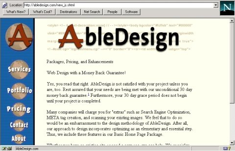 AbleDesign screen capture in Netscape 3 after adding browser conditional checking
