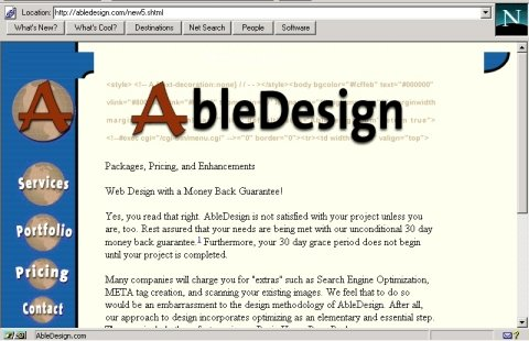 AbleDesign screen capture in Netscape 3 before adding browser conditional checking